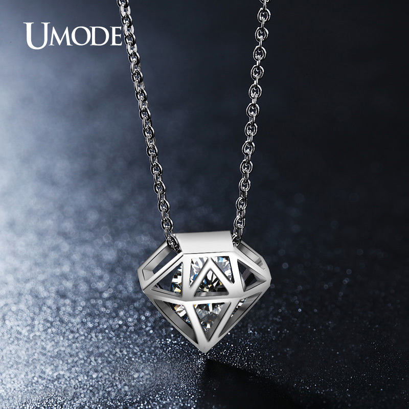 UMODE Cute Hollow Diamond-shaped Round Cut Clear CZ Diamond Necklace White Gold Plated Gros Collier Femme 2015 Jewellery UN0115B(China (Mainland))