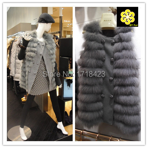 2015 arrive Korean fashion women real fox fur waistcoat coat jacket woth wool patchwork ladies coats vest gilet - BT Fur NO1 store