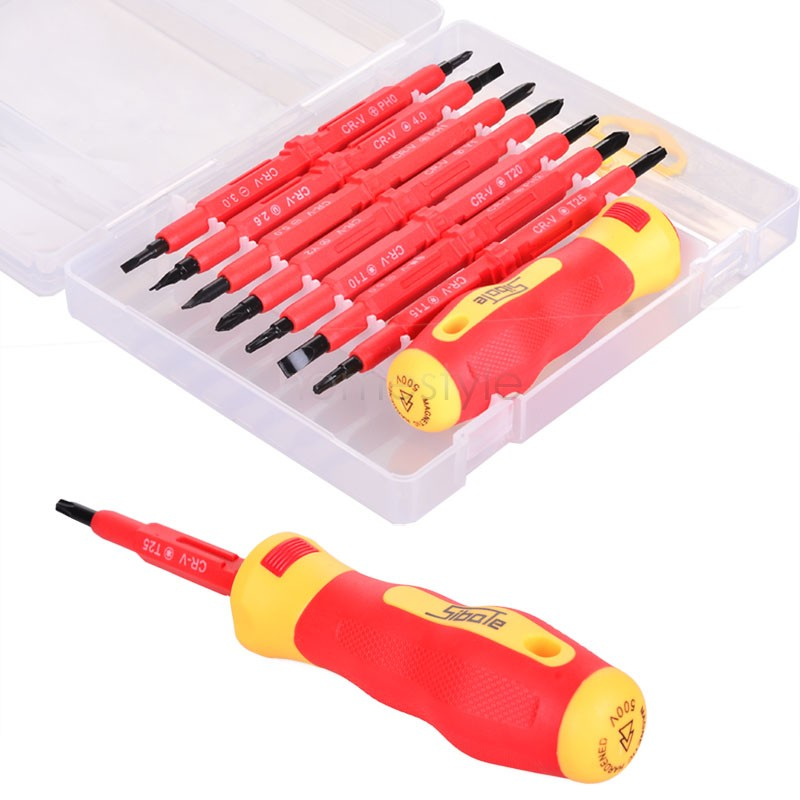 2015 New 7pcs Electrician's Insulated Electrical Hand Screwdriver Tool Set Home Garden Hand Tools With Box US51(China (Mainland))