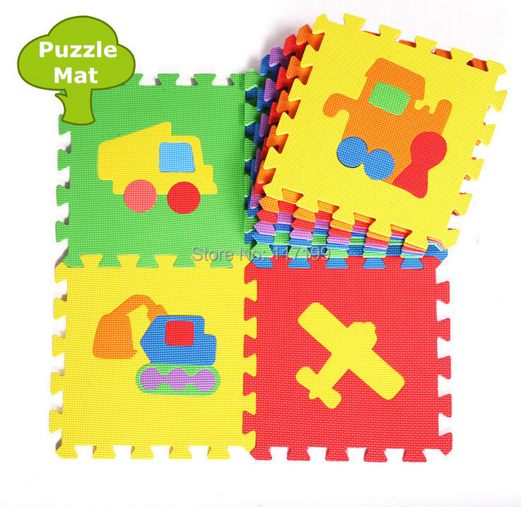 Promotion 10 pcs/ Lot Traffic Cars Play mat child cartoon puzzle floor mat baby eva foam patchwork floor mats EDD005(China (Mainland))