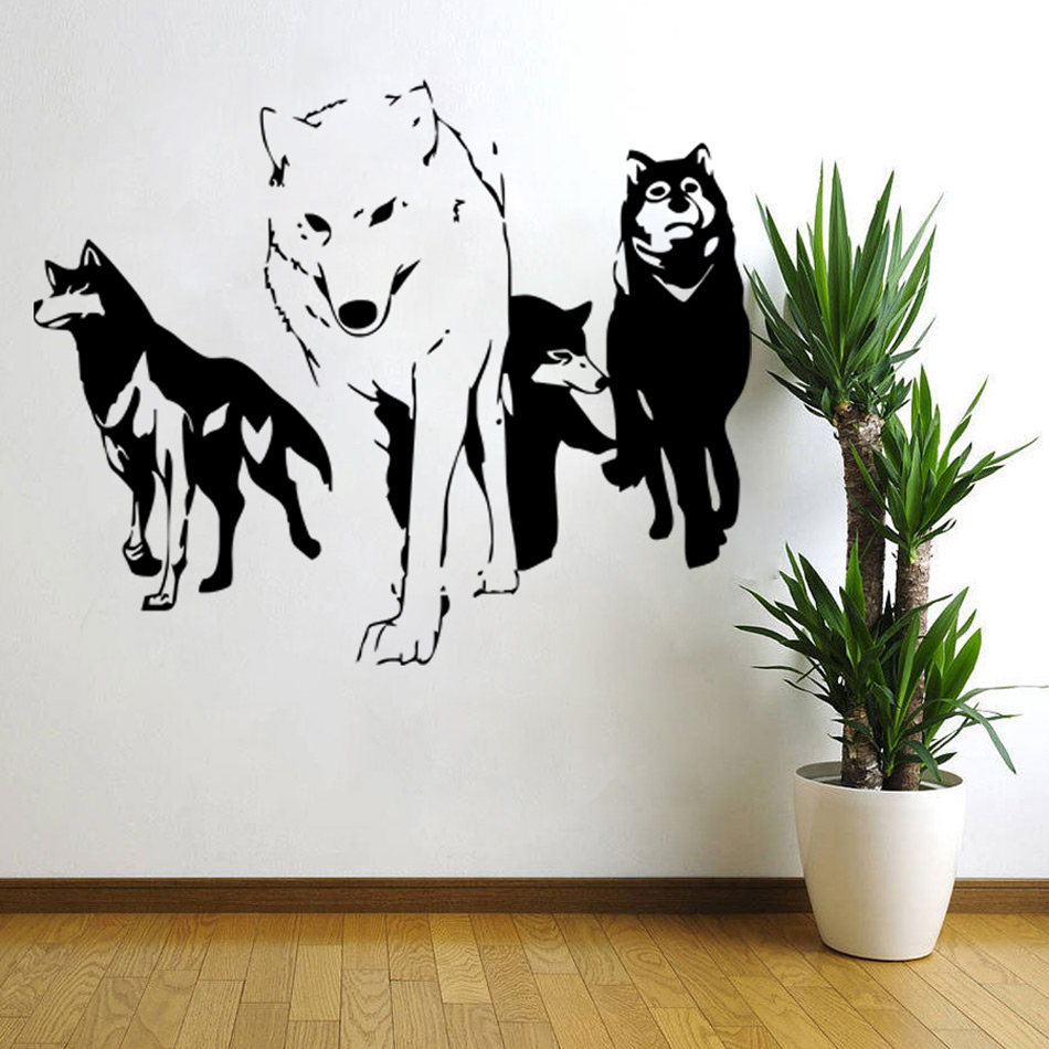 2016 new wolf wall decal vinyl wall sticker predator for Stickers de pared