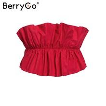BerryGo Sexy mujer crop topruffle strapless verano plisado lace up blanco mujeres corto camiseta Vintage fiesta señoras camis(China)