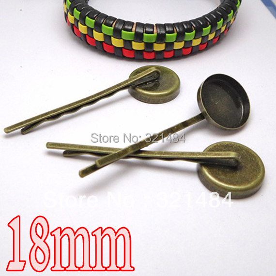 Antique bronze 200pcs Hair clip pin with 18mm blank base hairpins<br><br>Aliexpress