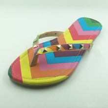 New 2016 Summer Style Shoes Women Sandals Fashion Rivets Flats Top Quality Rainbow Flip Flops Sexy Slippers Free shipping