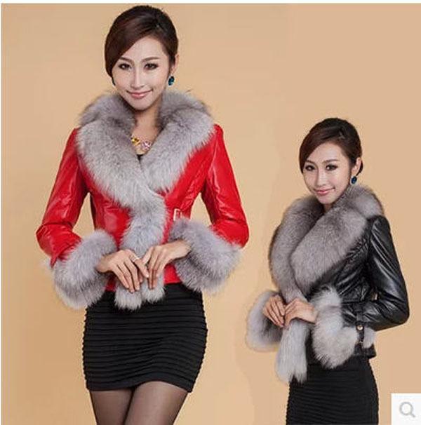 3Xl Women Winter Short Slim Fur Coat Pu Leather Thick Fox Collar Plus Size Long Sleeves Casual Parkas 2 Colors Jacket J144 - yue clothes store