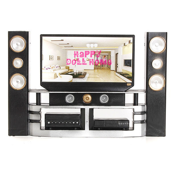 New Arrival Mini Hi-Fi 1:6 TV Home Theater Cabinet Set Combo For Barbie Doll Clothes Dress Accessories House Furniture Baby Toys(China (Mainland))