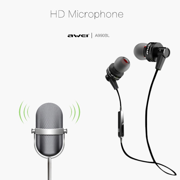 Awei A990BL Wireless Bluetooth Earphone Headsets with Microphone Stereo Music Cuffia Sports Auriculares for Xiaomi iphone Meizu