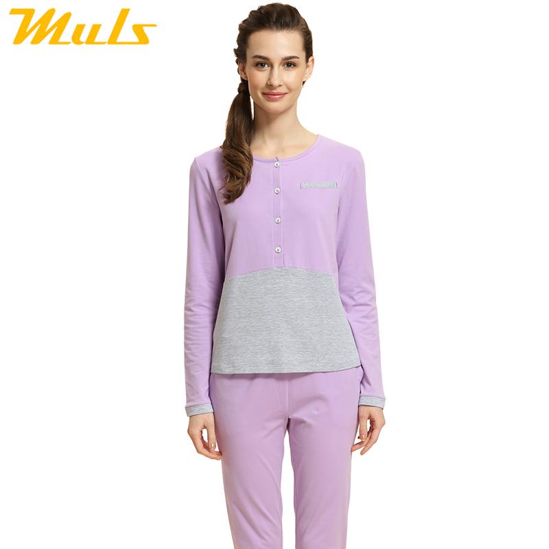 Matching men and woman clothes for full sleep set women pyjamas fashion winter cotton knit pajamas women pink purple color 1540D(China (Mainland))
