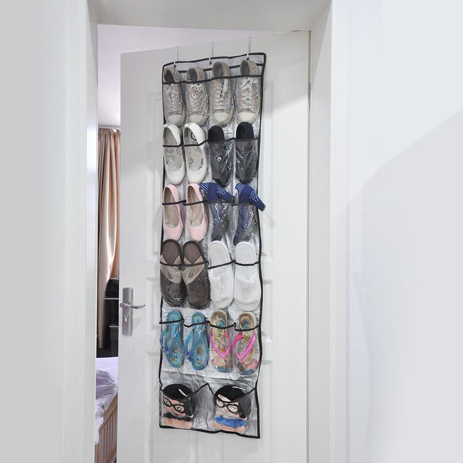 22 Pockets Multi-purpose Shoes Organizer 6 Layers Storage Bag Transparent Hanging Closet Foldable Door Hanging Shoes Storage Box(China (Mainland))