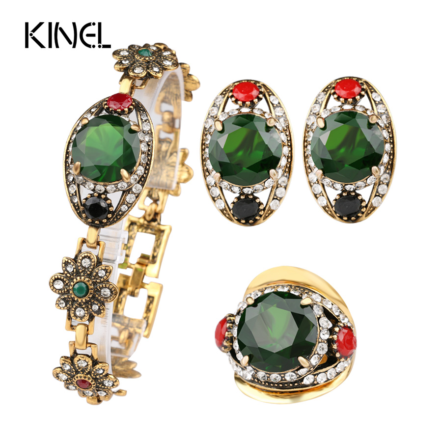 Free Shipping 2015 Latest Green Womens Jewellery Gold Sets Vintage Look Earrings And Bracelet Cheap Fashion Jewelry Sets(China (Mainland))