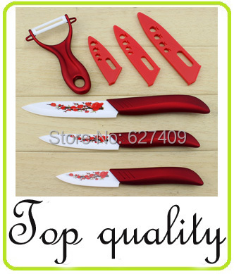 Chinese style kitchen knife cooking tools 3+4+5 inch+peeler ceramic knives set ABS handle kitchen accessories(China (Mainland))