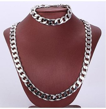 Fashion Jewelry Set , 10mm 600mm 18K White Gold Filled Chain Necklace Bracelet Set ,057 Gold Necklace Jewellry ,18K Gold Set