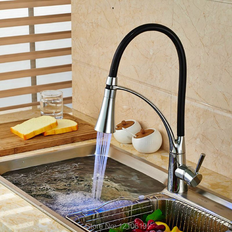 Newly Pull Down Kitchen Sink Faucet LED Light Basin Mixer Tap Chrome Finished Hot&Cold Water Tap