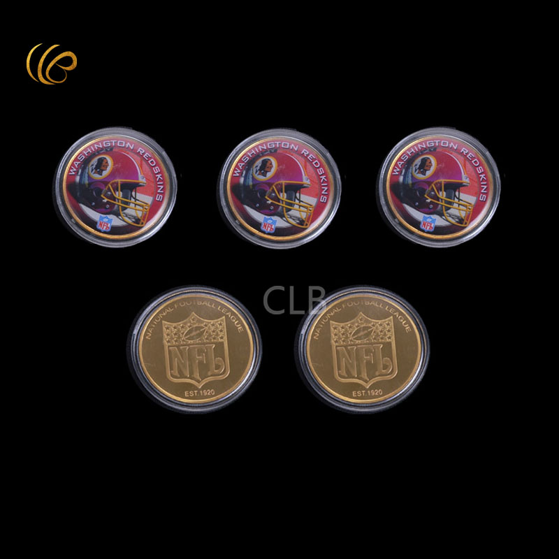 WR Promotional Gift 24k Gold Plated Coin USA NFL Gold Coin National Rugby League Washington Redskins Commemorative Gifts(China (Mainland))