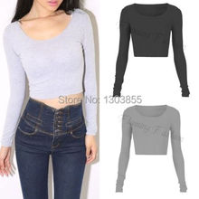 Fashion Sexy Womens Ladies Slim Long Sleeve Crop Top Crew Neck T Shirt Blouse 7Colors