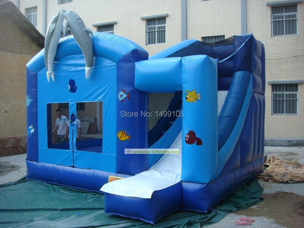 Free shipping inflatable shark bouncer slide,inflatable bouncer air blower 1pc(China (Mainland))