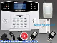 Wired and Wireless LCD Home Security GSM alarm system with Russian and English Spanish French Voice Auto dialer free shipping