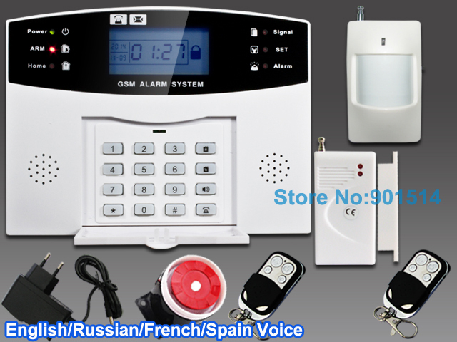 Wired and Wireless LCD Home Security GSM alarm system with Russian and English Spanish French Voice Auto dialer free shipping(China (Mainland))