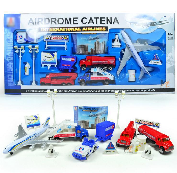 Hot sale ! Alloy airfield airliner taxiing children Pretend Play toy, children's educational toys, free shipping,16 pieces / lot(China (Mainland))
