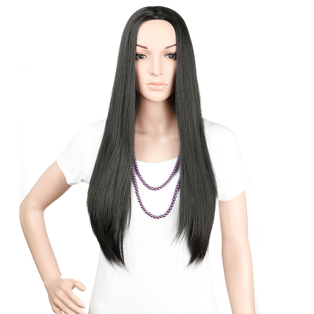 """25"""" Long Straight 3/4 Half Wig Synthetic Dark Black Fashion Fancy Costume/Party Dress for Women & Girls(China (Mainland))"""