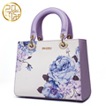 Chinese Style Designer Brand Women Genuine Leather Bags 2016 Luxury Women Flower Print Handbag Banquet Bag