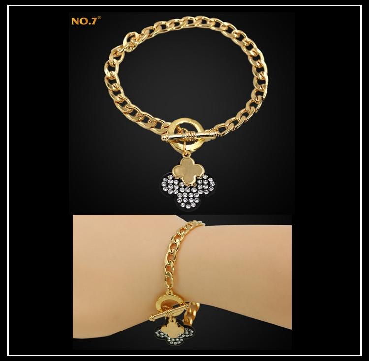 2015 New Trendy Cross Charm Bracelet 18k Gold Plated Jewelry Rock Cute Friendship Bracelets Bangles For Women Girls Bijoux Sale(China (Mainland))