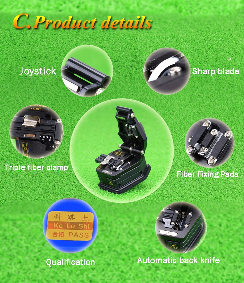 Buy KELUSHI Fiber Cleaver SKL-6C Cable Cutting Knife FTTT Fiber Optic Knife Tools High Precision Cutter 16 Surface Blade cheap