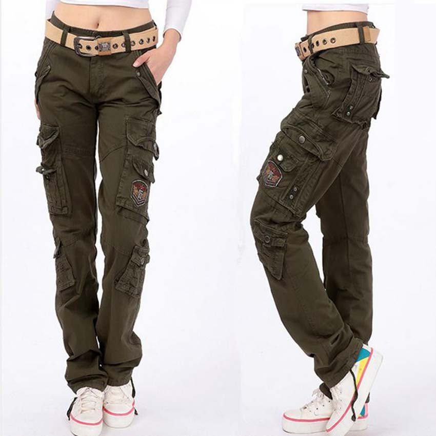 Fashion Full Pants 2015 Women Casual Loose sport jogger cargo pants Woman outdoor army Green Overalls trousers plus size 28-38Одежда и ак�е��уары<br><br><br>Aliexpress