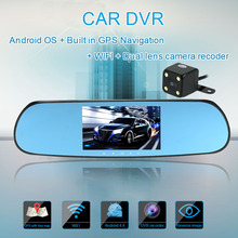 """Universal 5"""" 1080P HD Android Touch Screen Car Rearview Mirror DVR GPS Navigation Car-detector WIFI 2 Lens Car Rearview Camera(China (Mainland))"""