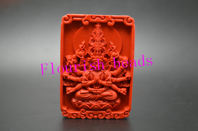 Buddhist Style Around 40*58MM Square Shape Red Cinnabar Carved Guanyin Buddha Pendant Fit Necklace Jewelry Handmade 5pc/Lot<br><br>Aliexpress