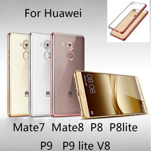 Huawei P8 Lite Case Silicon TPU Transparent Soft Back Cover case P9 Mate 7 8 V8 - SMILE CASE ROSE Store store