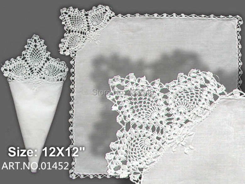 Home Textile Belgium Lace style1White100%Cotton Ladies Handkerchiefs11 inchx11 inchElegant Embroidered crochet lace edges Bride - BAIDAILI NAPKINS FOR SPECIAL OCCASIONS store
