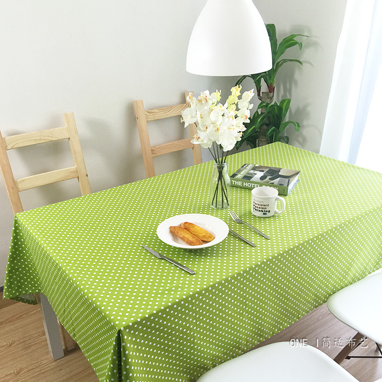 Korean style green dot cartoon design rectangle round linen table cover table cloths for sale(China (Mainland))
