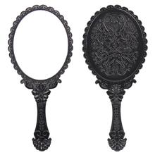 2014 livraison gratuite New Big Size Vintage Rose miroir cosmétique plastique miroir de maquillage fille main mignon Make Up noir 1 couleur()