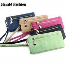 Fashion Women Wallets Dull Polish Leather Wallet Double Zipper Day Clutch Purse Wristlet Portefeuille Handbags Carteira