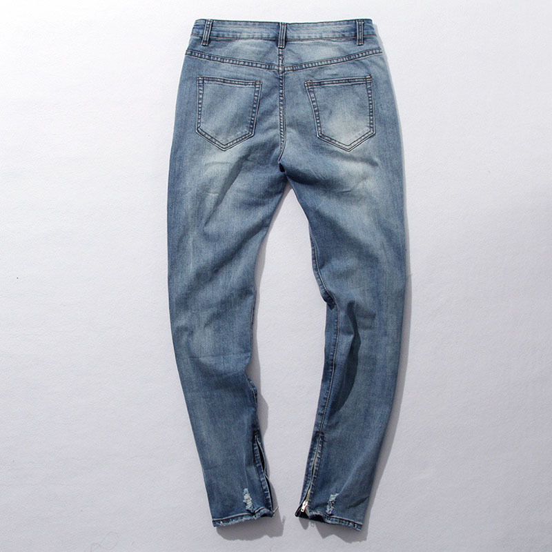 Buy Fear Of God Jeans Mens Knee Hole KANYE WEST Side Zipper Slim Distressed Jeans Knife Cut Ripped Jeans For Men Freeshipping cheap