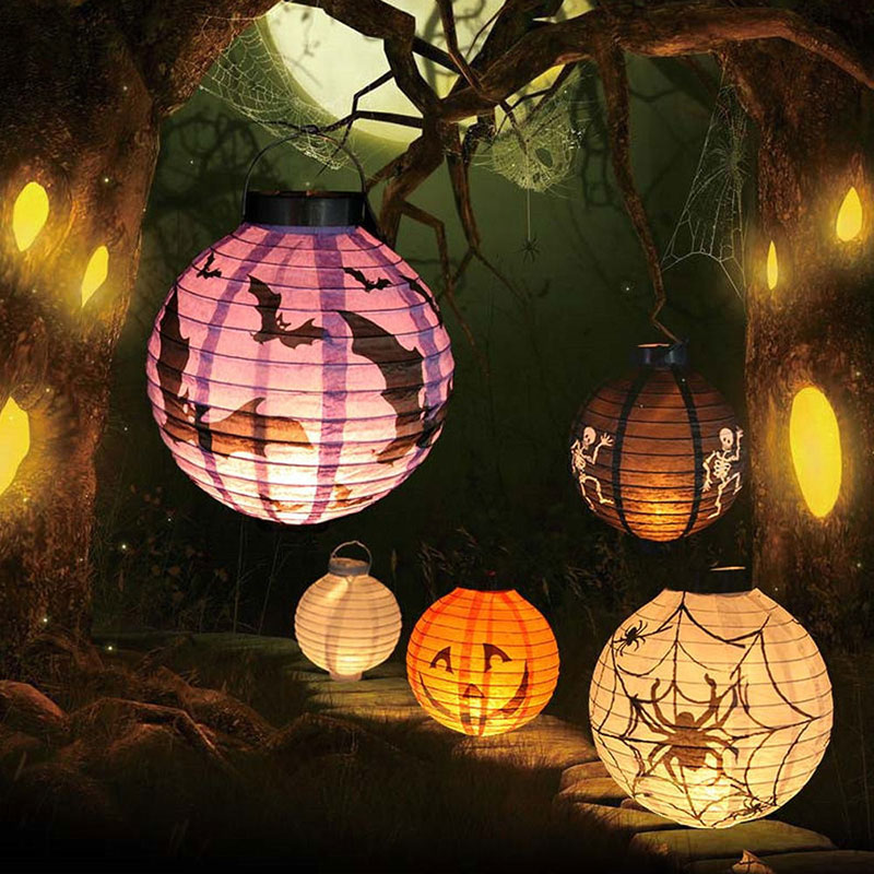 1 Pc Halloween Decoration LED Paper Pumpkin Light Hanging Lantern Lamp Halloween Props Outdoor Party Supplies(China (Mainland))