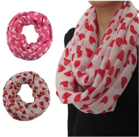 Love Hearts Print Scarf Wrap Shawl Valentine's Mother's Day Gift Accessories, Free Shipping(China (Mainland))