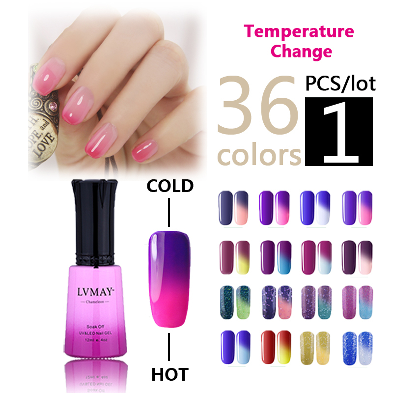 1PCS Chameleon Temperature change gel color UV nail polish soak off Gorgeous nail gel Lacquer 12ml colors nail Varnishes(China (Mainland))