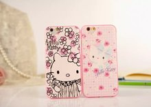 50pcs/lot DHL Free shipping 8colours Super relief HELLO KITTY heart TPU mobile phone case cover for iphone 6 6s 4.7″ TPU case
