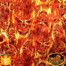 Free Shipping Dazzle Graphic No.DGDB8018  Water Transfer Printing Film Skull Flaming Hydrographic Film Transfer WTP Film(China (Mainland))