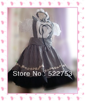 free shipping New arrival Black and white grid Coffee Shop cosplay maid clothing