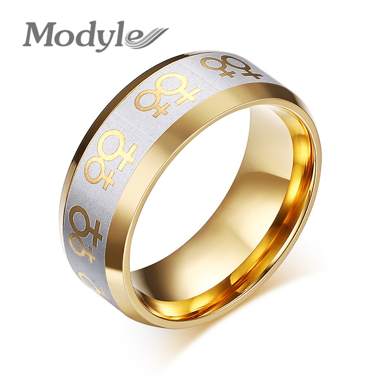 18K Gold Rings For Women Lesbian Wedding Ring Stainless Steel Female Gay Pride Jewelry(China (Mainland))