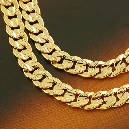 Men's jewellery 24k yellow solid gold GF necklace Noble chain 60cm free ship(China (Mainland))