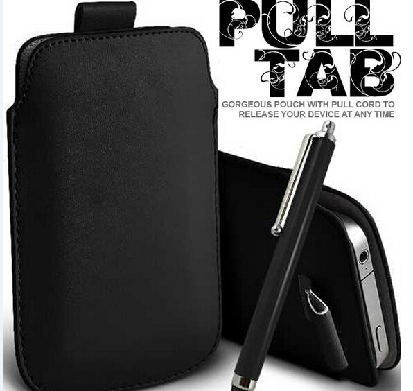 BLACK PULL TAB LEATHER POUCH CASE SKIN & STYLUS for BLACKBERRY 9700/9780(China (Mainland))