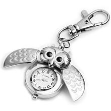 "New Fashion Metal Owl Pocket Pendant Watch Portable Key Chain Keyring Fob Watches 2x1""(China (Mainland))"