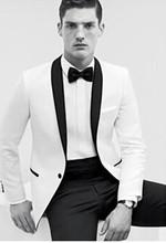 New Arrival New Style Groom Tuxedos White Suit black Lapel Wedding Suit Bridegroom Suits Custom Made (Jacket+Pants+Girdle)