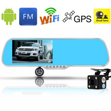 "5"" IPS Touch Screen Android 4.4 Car DVR Review Mirror Camera Dual Les 8GB WiFi GPS Navigation Full HD 1080P+Reaview Camera(China (Mainland))"