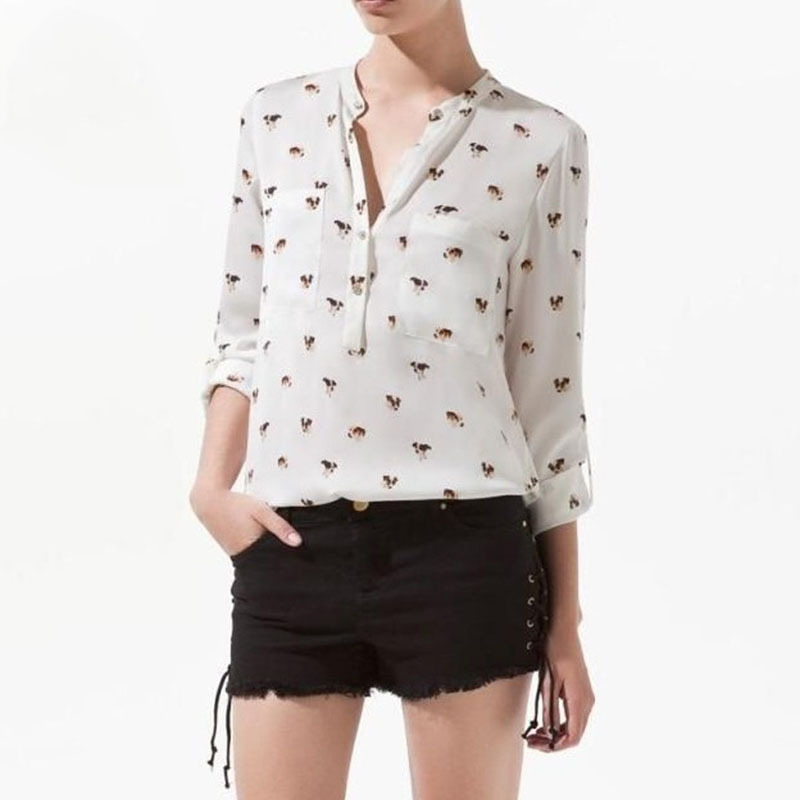 camisa feminine remeras mujer women chiffon blouse shirt clothing blusas shirts blusa de manga comprida femme printing dog(China (Mainland))