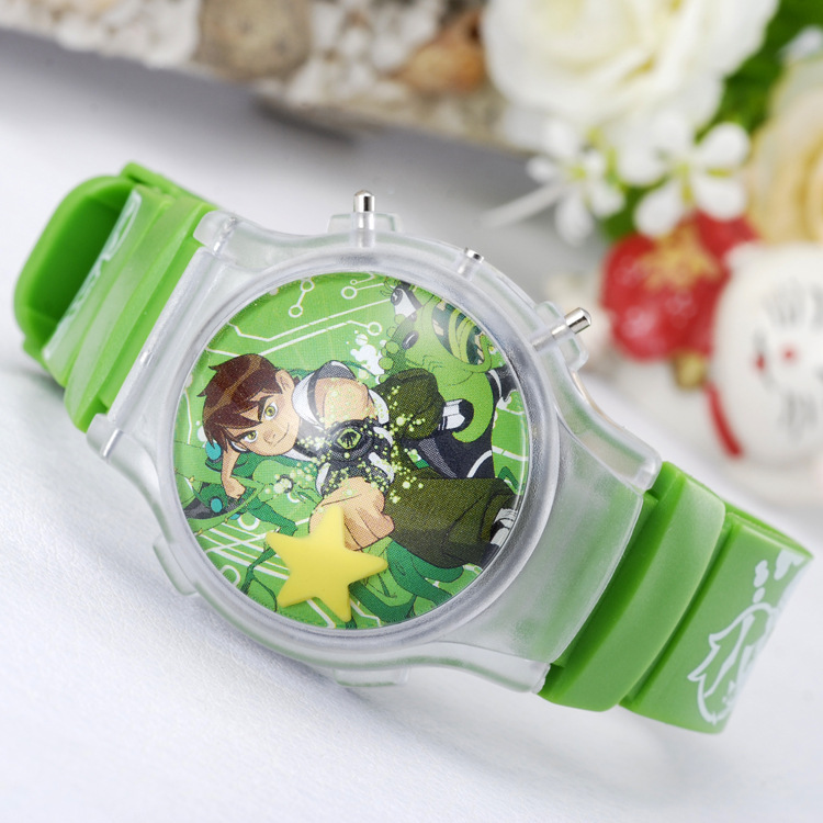 New 2015 fashion cool ben 10 cartoon watch for children boys silicone digital watches for kids Christmas gift wristwatch clock(China (Mainland))